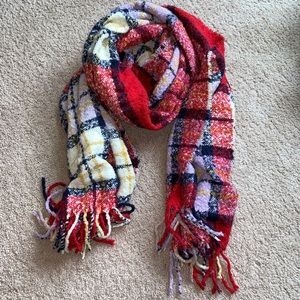 Aerie Bonfire Blanket Scarf Lilac Red Blue Yellow